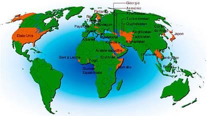 En dix ans, plus de 150 pays ont ratifié la Convention sur la biodiversité.  Mais le fait que certains pays comme les Etats-Unis s'en soient abstenu affaiblit considérablement sa portée. : (en orange, les pays qui n'ont pas ratifié la Convention sur la biodiversité signée à Rio en 1992)